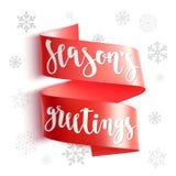 Cumprimentos do ` s da estação Cartão do feriado com caligrafia e flocos de neve ilustração royalty free