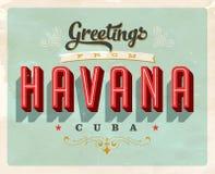 Cumprimentos do vintage cartão de férias de Havana, Cuba Foto de Stock