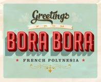 Cumprimentos do vintage de Bora Bora, cartão de férias de Polinésia francesa Imagens de Stock