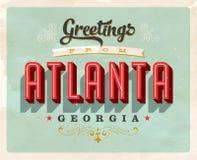 Cumprimentos do vintage do cartão de férias de Atlanta Imagem de Stock Royalty Free