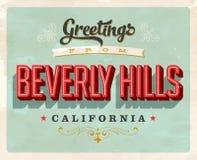 Cumprimentos do vintage do cartão de férias de Beverly Hills Fotos de Stock Royalty Free