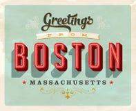Cumprimentos do vintage do cartão de férias de Boston Fotografia de Stock Royalty Free