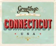 Cumprimentos do vintage do cartão de férias de Connecticut Foto de Stock