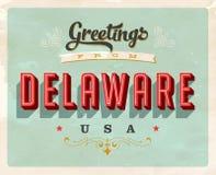 Cumprimentos do vintage do cartão de férias de Delaware Imagens de Stock