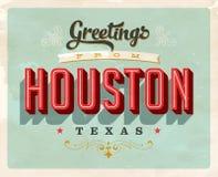 Cumprimentos do vintage do cartão de férias de Houston ilustração royalty free