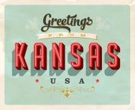 Cumprimentos do vintage do cartão de férias de Kansas Fotografia de Stock