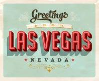 Cumprimentos do vintage do cartão de férias de Las Vegas Foto de Stock Royalty Free