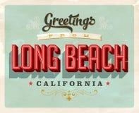 Cumprimentos do vintage do cartão de férias de Long Beach Fotos de Stock