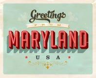 Cumprimentos do vintage do cartão de férias de Maryland Imagens de Stock