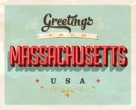 Cumprimentos do vintage do cartão de férias de Massachusetts Imagens de Stock