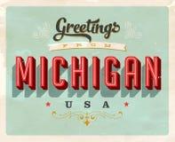 Cumprimentos do vintage do cartão de férias de Michigan Fotos de Stock