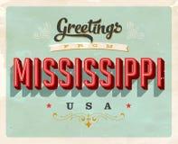 Cumprimentos do vintage do cartão de férias de Mississippi Imagens de Stock