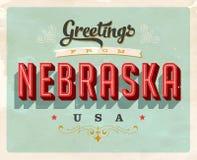 Cumprimentos do vintage do cartão de férias de Nebraska Foto de Stock