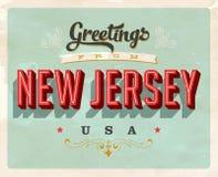 Cumprimentos do vintage do cartão de férias de New-jersey Imagens de Stock Royalty Free