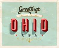 Cumprimentos do vintage do cartão de férias de Ohio Imagem de Stock