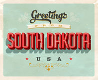 Cumprimentos do vintage do cartão de férias de South Dakota Fotografia de Stock Royalty Free