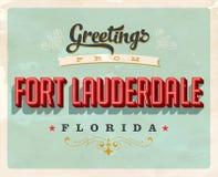 Cumprimentos do vintage do cartão de férias do Fort Lauderdale Fotografia de Stock Royalty Free