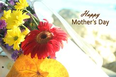 Cumprimentos felizes do dia de mães com o ramalhete bonito da flor no fundo macio do tom fotografia de stock