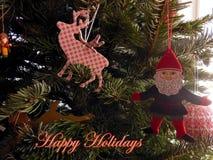 Cumprimentos felizes do duende do feriado Fotografia de Stock Royalty Free