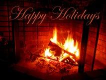 Cumprimentos felizes do feriado acima da chaminé Imagens de Stock