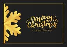 Cumprimentos sazonais escritos à mão do Feliz Natal e do ano novo feliz O cartão dos feriados de inverno fez de um papel preto su ilustração stock