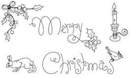 Cumprimentos tirados mão do Natal Imagens de Stock