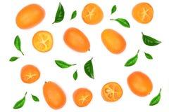 Cumquat lub kumquat z połówką odizolowywającą na białym tle Odgórny widok Mieszkanie nieatutowy wzór Zdjęcie Royalty Free