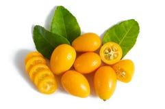 Cumquat o kumquat con la foglia isolata su fondo bianco Fine in su immagini stock