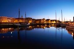 Cumujący żeglujący jachty w wieczór schronieniu Greifswald Obraz Royalty Free