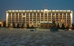cumujący noc portu statku widok Rzędu dom Samara region zdjęcia stock