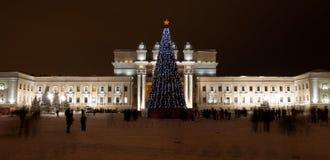 cumujący noc portu statku widok Samara Akademicka opera i Baletniczy teatr jesteśmy jeden wielcy Rosyjscy teatry muzyczni obraz royalty free