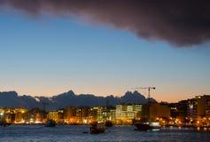 cumujący noc portu statku widok Obrazy Stock