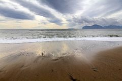 Cumulonimbus above the sea. View of dramatic sky and stormy sea, Ukraine Royalty Free Stock Photos