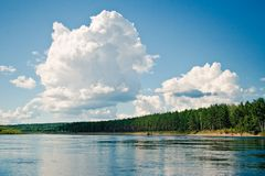 Cumulus above Dep river Royalty Free Stock Photo
