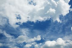 Cumulus and cirrus clouds against a sky. Cumulus and cirrus clouds against a blue sky stock images