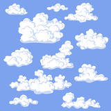 Cumulus Cloud Set on blue. Stock Photo