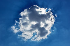 Cumulus cloud with sun beams Royalty Free Stock Photos