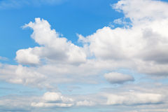 Cumulus clouds in blue autumn sky Royalty Free Stock Photo