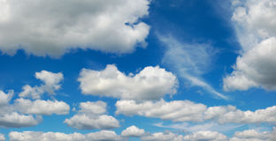 Cumulus clouds on blue sky panoramic environment weather. Blue sky with cumulus clouds panoramic view environmental meteo Stock Image