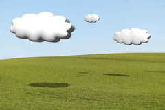 Cumulus clouds 3d with the shadow. Hilly meadow with cumulus clouds 3d with the shadow on the grass Royalty Free Stock Images