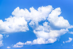 Cumulus clouds (fluffy and relief) in blue sky Stock Photo