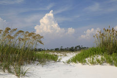 Cumulus Clouds Form Over Sea Oat Covered Sand Dunes Stock Photos