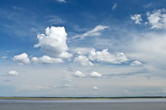 Cumulus clouds over lake Royalty Free Stock Photography