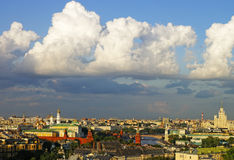 Cumulus clouds over Moscow city center and Kremlin panorama skyl Royalty Free Stock Photography