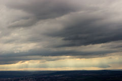 Cumulus clouds rain the valley Stock Photography