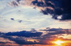 Cumulus clouds at sunset. Stock Image