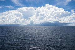 Cumulus clouds over South Pacific Ocean Royalty Free Stock Image