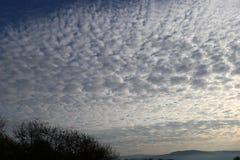 Cumulus dans un ciel bleu-foncé de matin images libres de droits