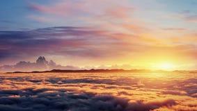 Cumulus fantastic fog in the morning sky.Carpathian, Ukraine Royalty Free Stock Images