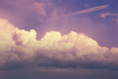 Cumulus jet trail Royalty Free Stock Photos